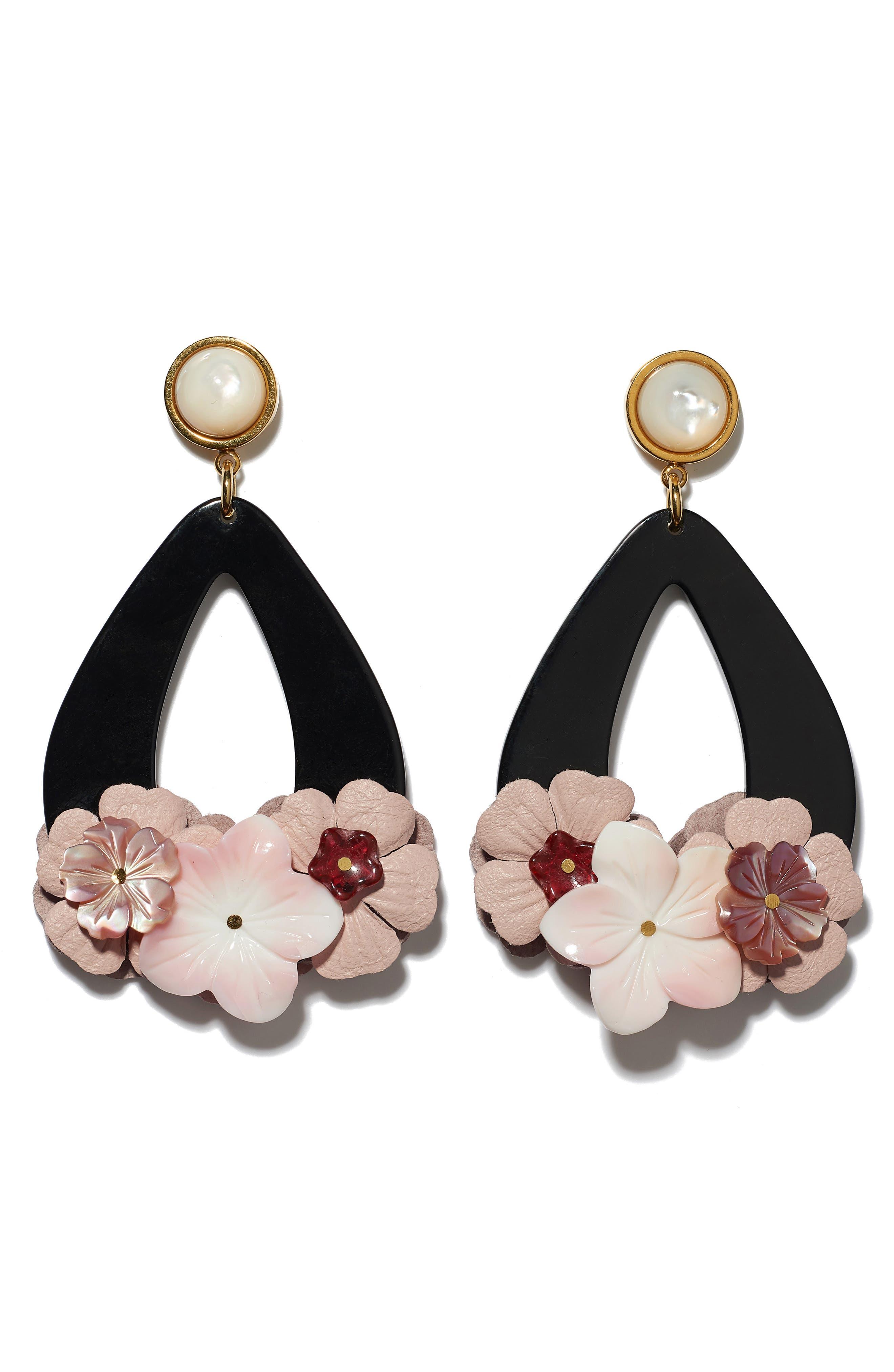 Jasmine Flower Teardrop Earrings, Main, color, 650