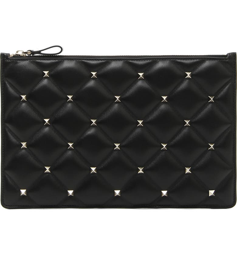 VALENTINO GARAVANI Large Candystud Leather Pouch, Main, color, 001