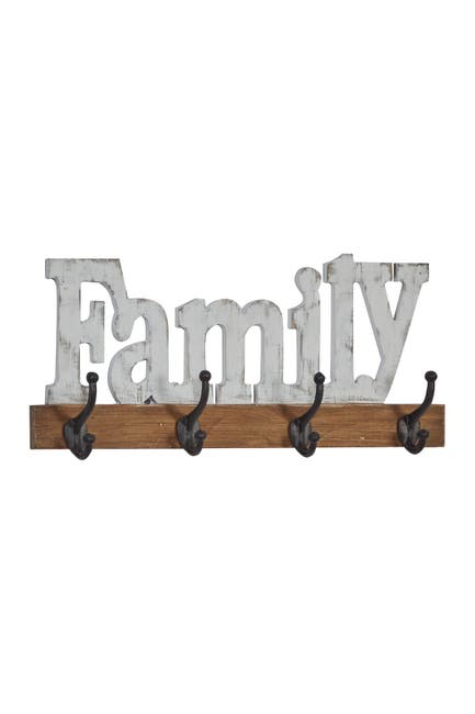 """Image of Willow Row 4-Hook Metal And Wood Wall D  cor With Distressed White Family Sign - 24"""" x 10"""""""