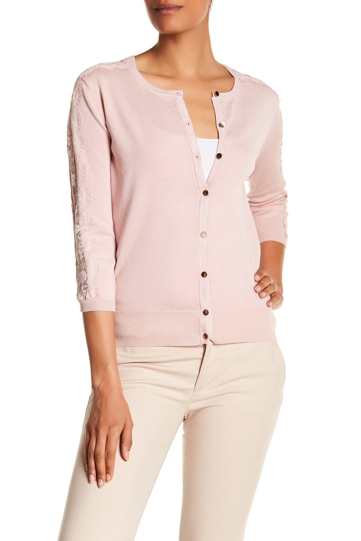Image of Catherine Catherine Malandrino Eyelash Lace Sleeve Trimmed Button Down Cardigan