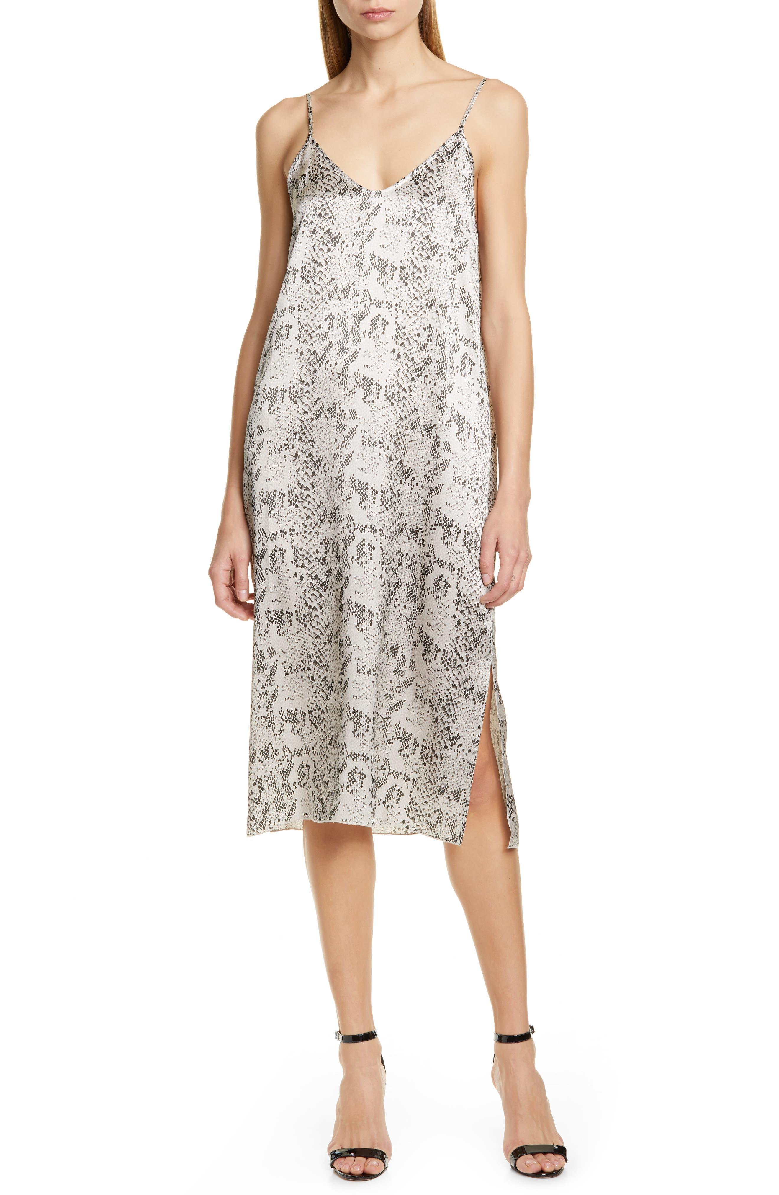 Atm Anthony Thomas Melillo Print Silk Slipdress, Grey