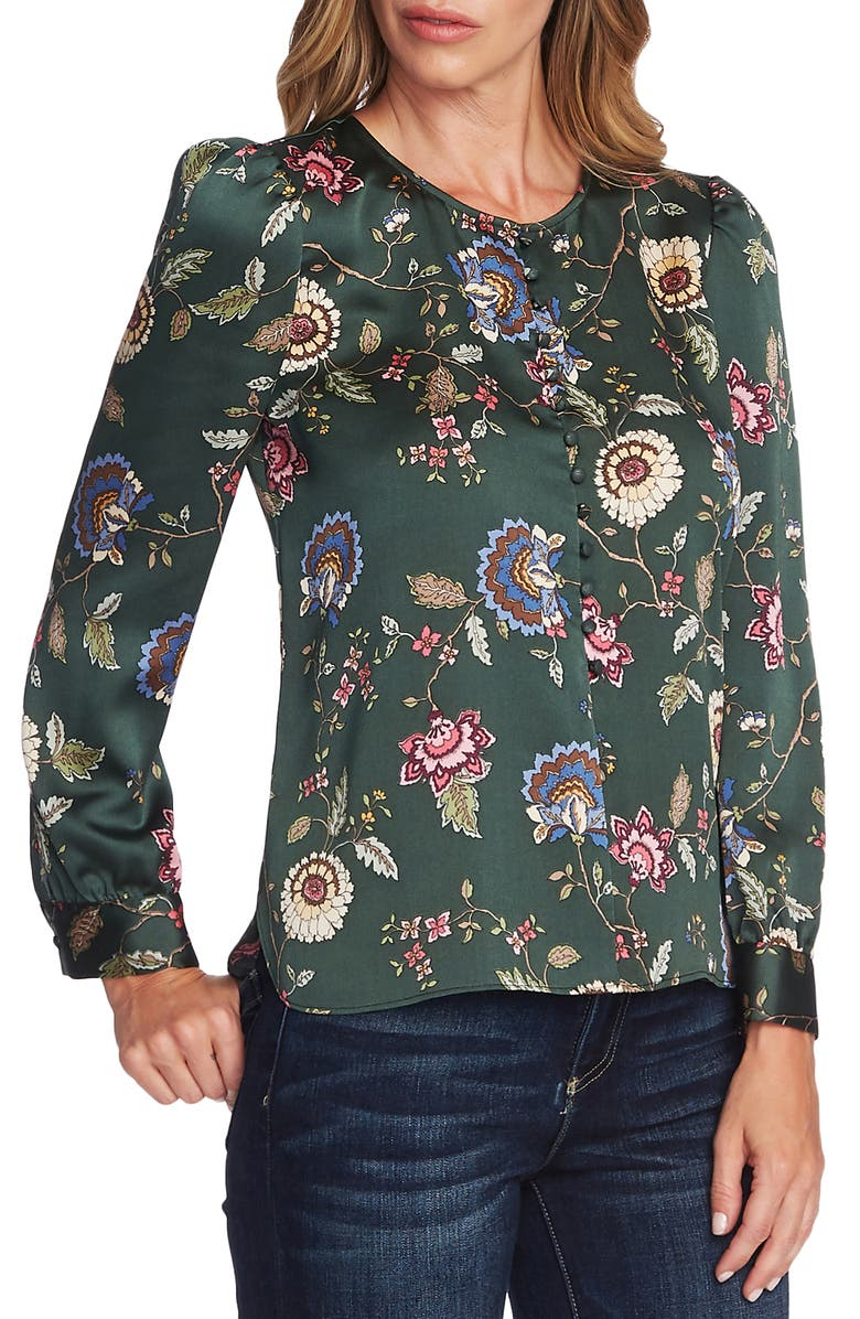 VINCE CAMUTO Windsor Floral Puff Sleeve Blouse, Main, color, DK WILLOW