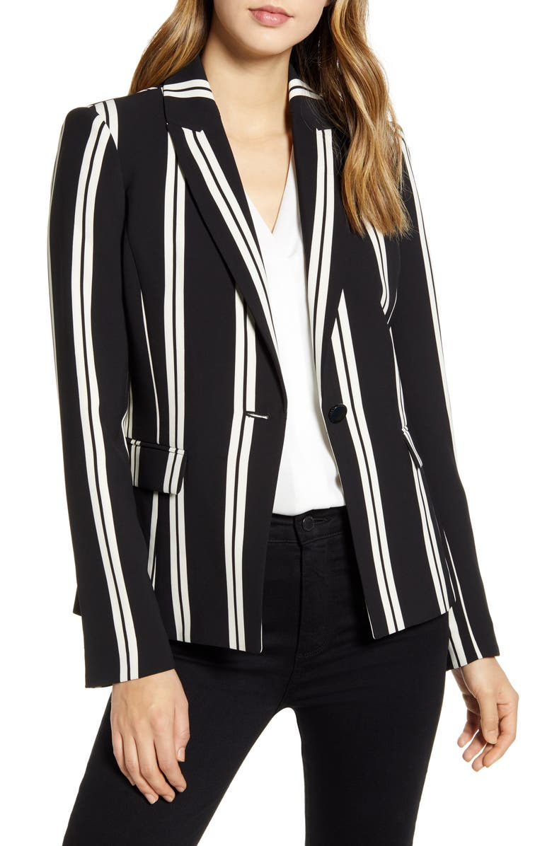 KARL LAGERFELD PARIS Stripe Blazer, Main, color, 012