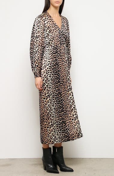 Leopard Print Long Sleeve Silk Satin Midi Wrap Dress, video thumbnail