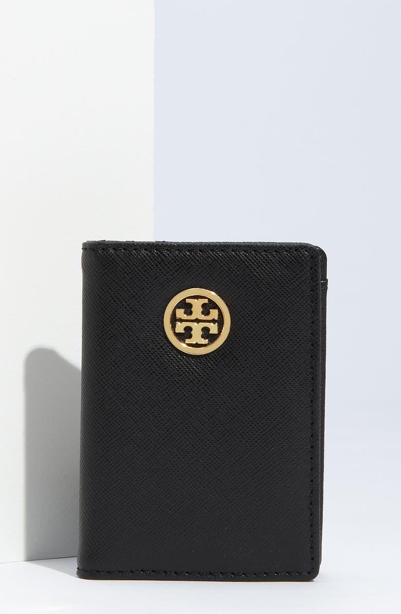 TORY BURCH 'Robinson' Card Holder, Main, color, 001
