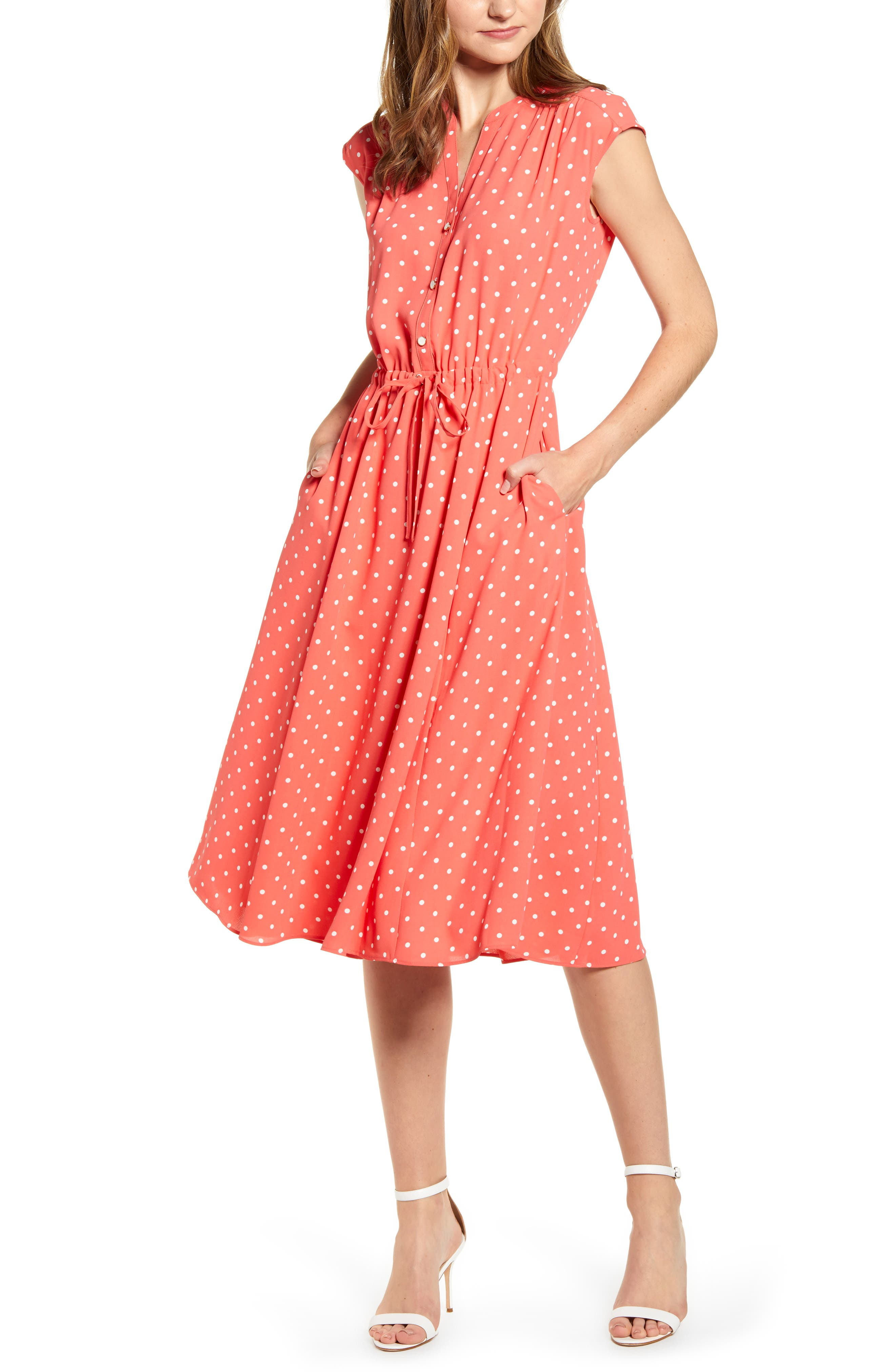 Anne Klein Dot Print A-Line Dress, Pink