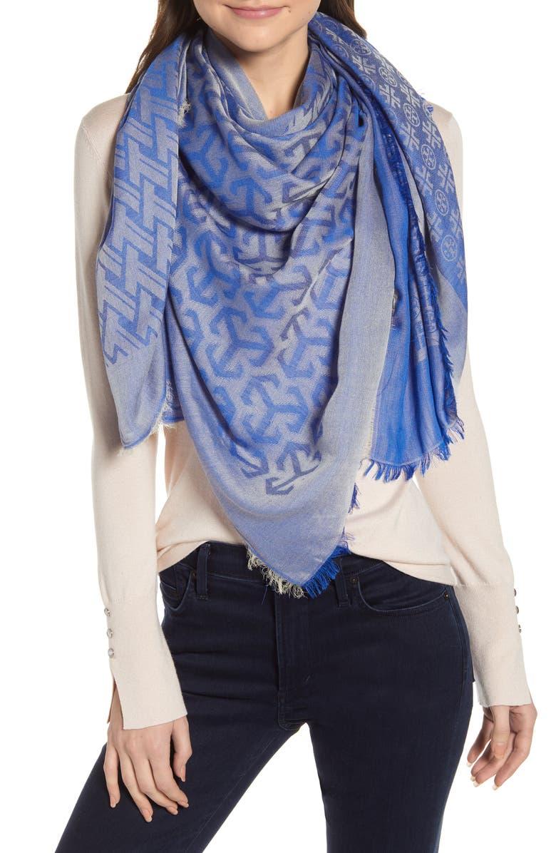TORY BURCH Logo Wool Blend Scarf, Main, color, BONDI BLUE