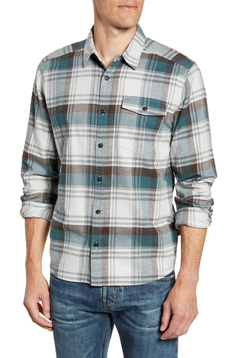 PATAGONIA Regular Fit Organic Cotton Flannel Shirt, Main, color, BUTTES TAILORED GREY