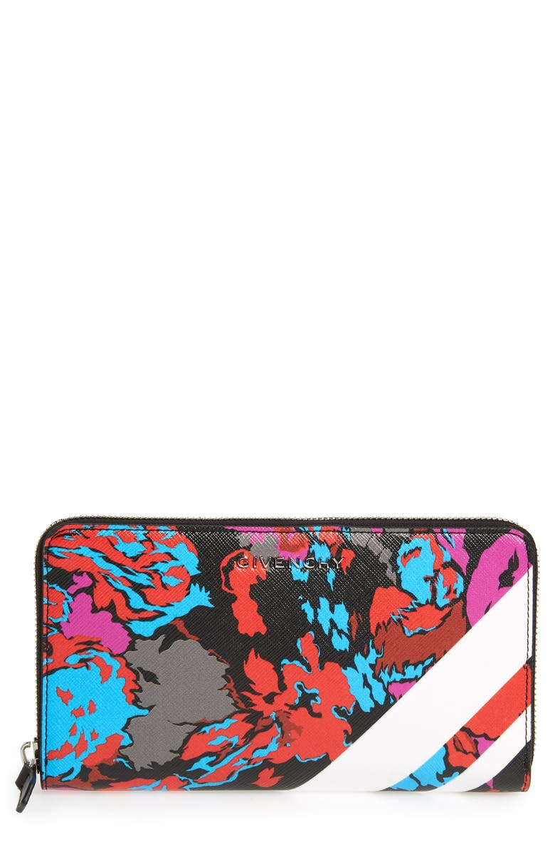 GIVENCHY Iconic Floral Print Zip Around Wallet, Main, color, BLACK MULTI