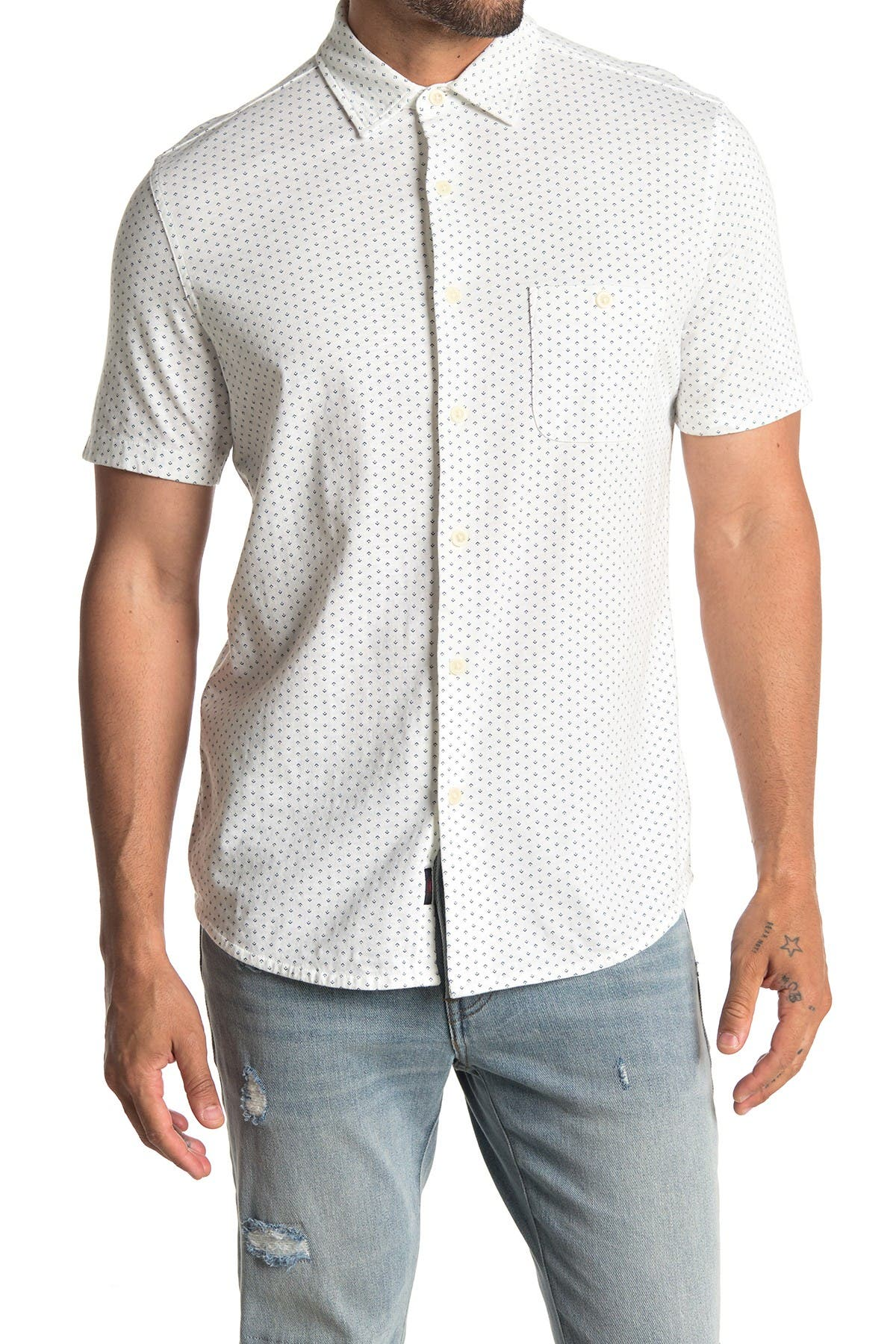 Image of FAHERTY BRAND Knit Coast Short Sleeve Dobby Slim Fit Shirt