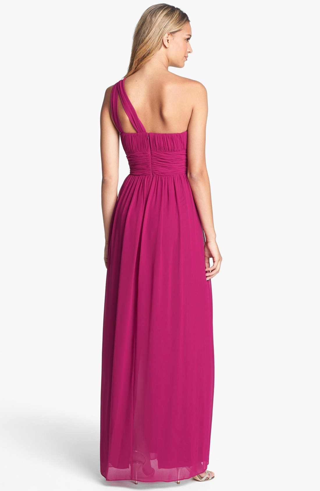 ,                             'Rachel' Ruched One-Shoulder Chiffon Gown,                             Alternate thumbnail 101, color,                             649