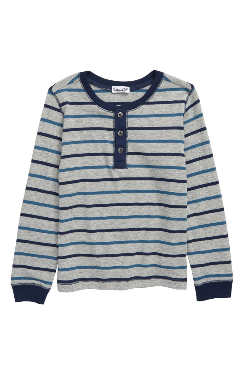 SPLENDID Stripe Henley Shirt, Main, color, 051