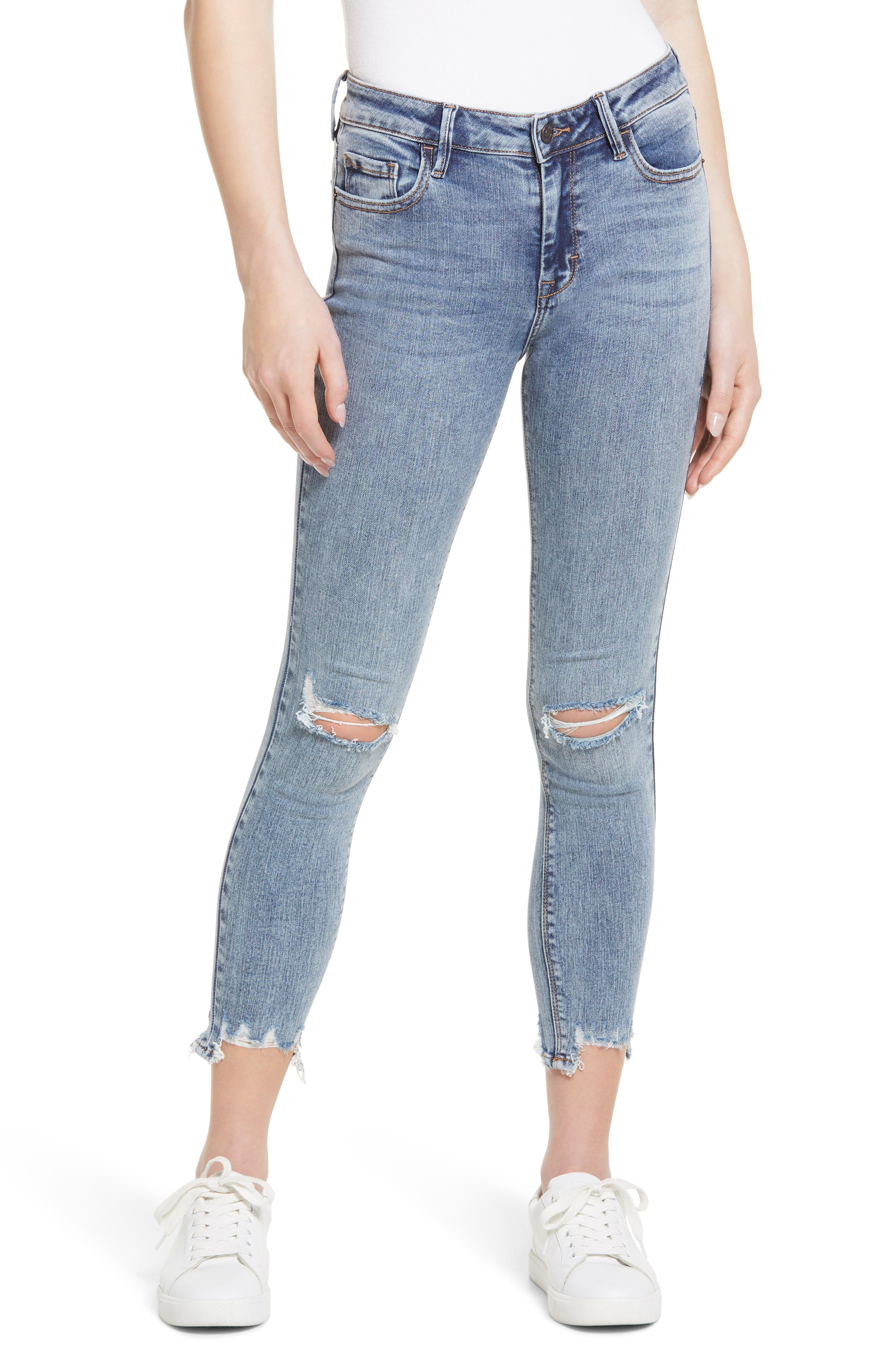 Ripped Chewed Hem Ankle Skinny Jeans