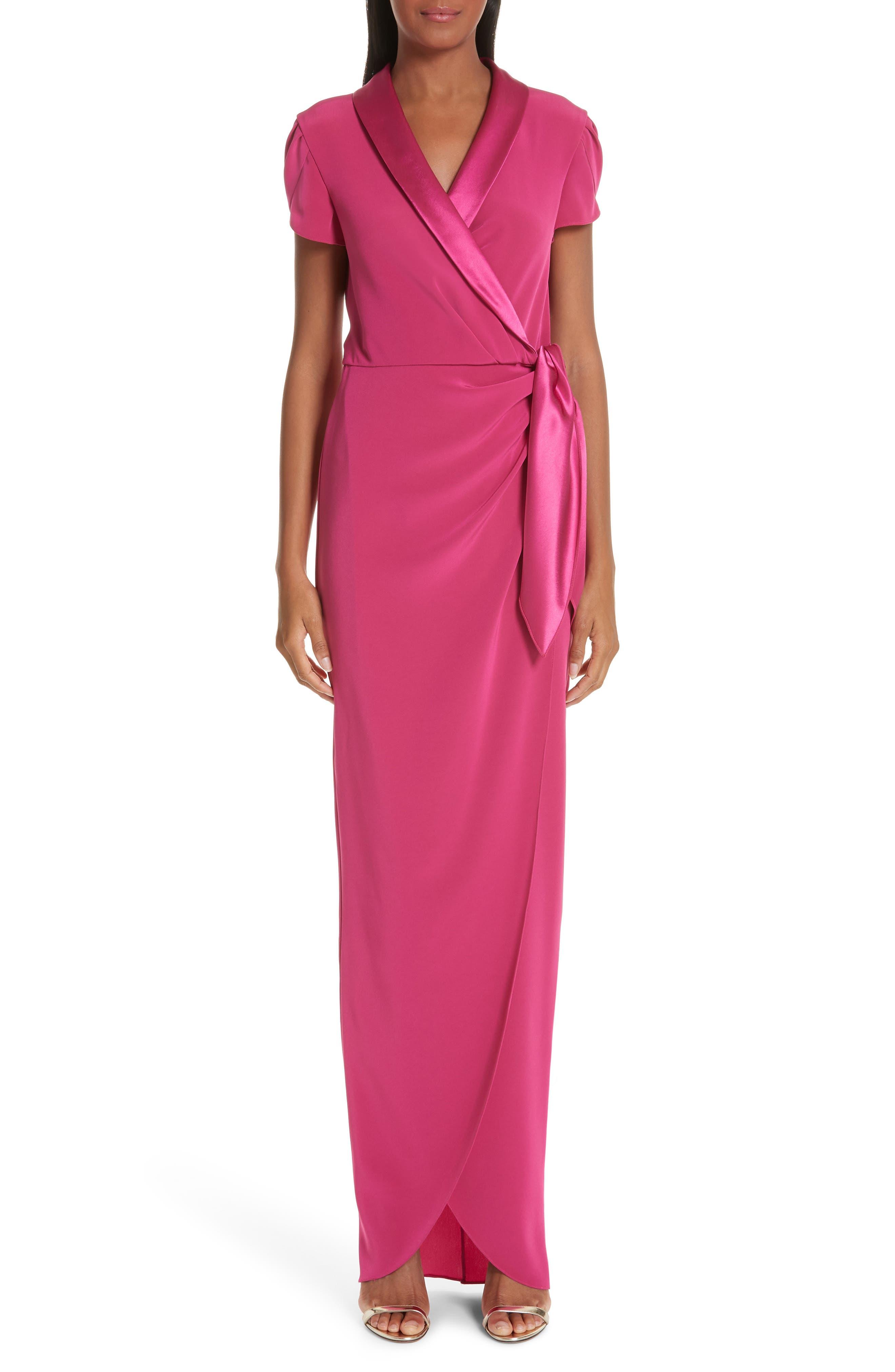 Verdin Tuxedo Lapel Column Wrap Dress