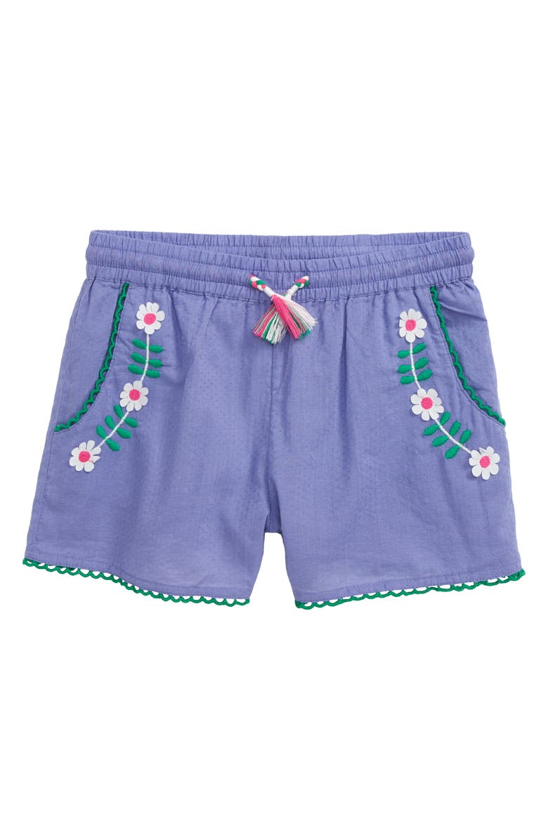 MINI BODEN Embroidered Woven Shorts, Main, color, 514