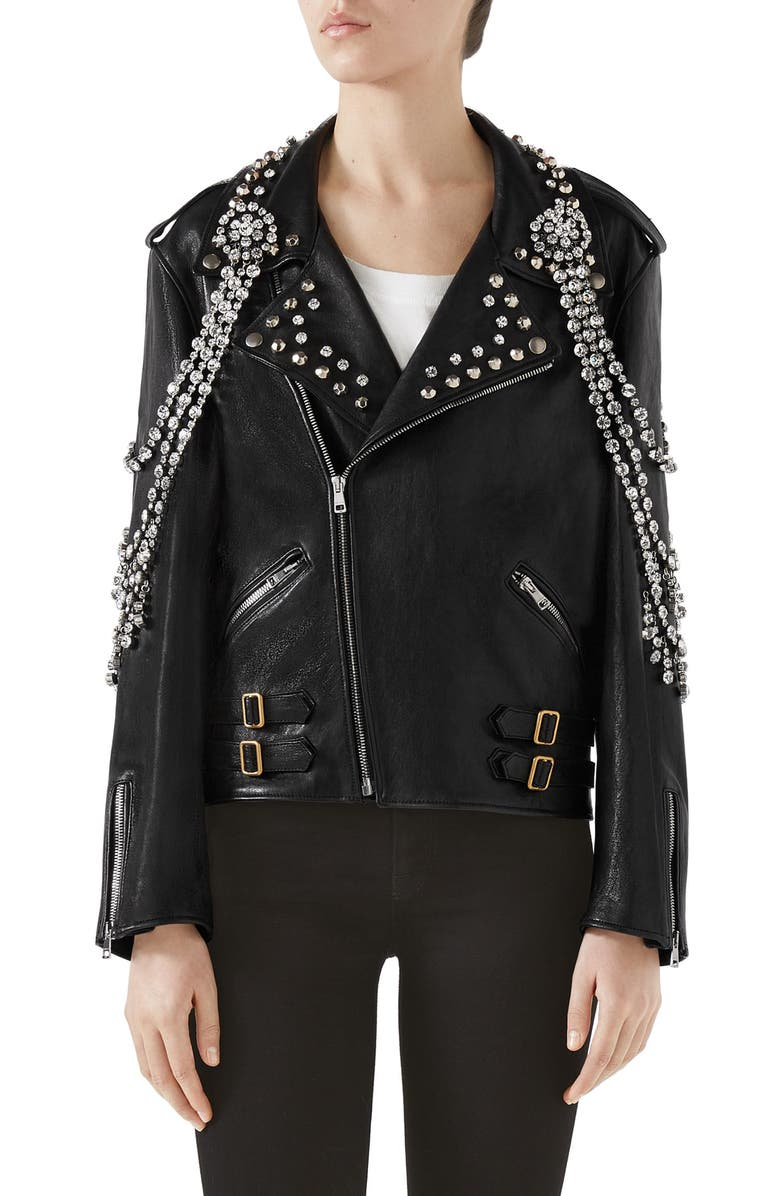 GUCCI Back Logo Crystal Embellished Biker Jacket, Main, color, BLACK/ WHITE