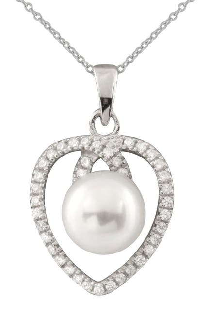 Image of Splendid Pearls CZ & White 7-8mm Cultured Freshwater Pearl Heart Pendant Necklace