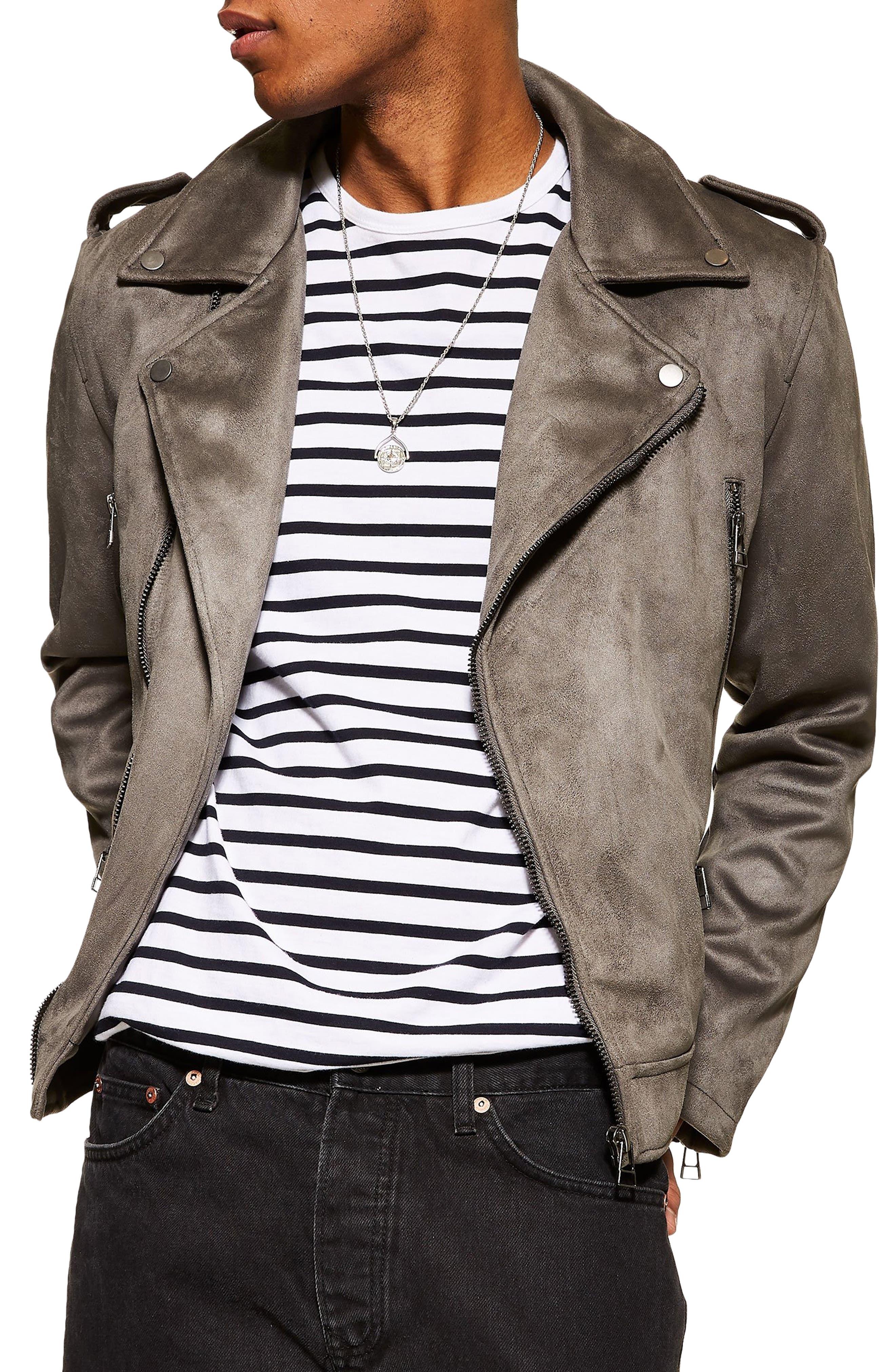 Topman Faux Suede Biker Jacket, Grey