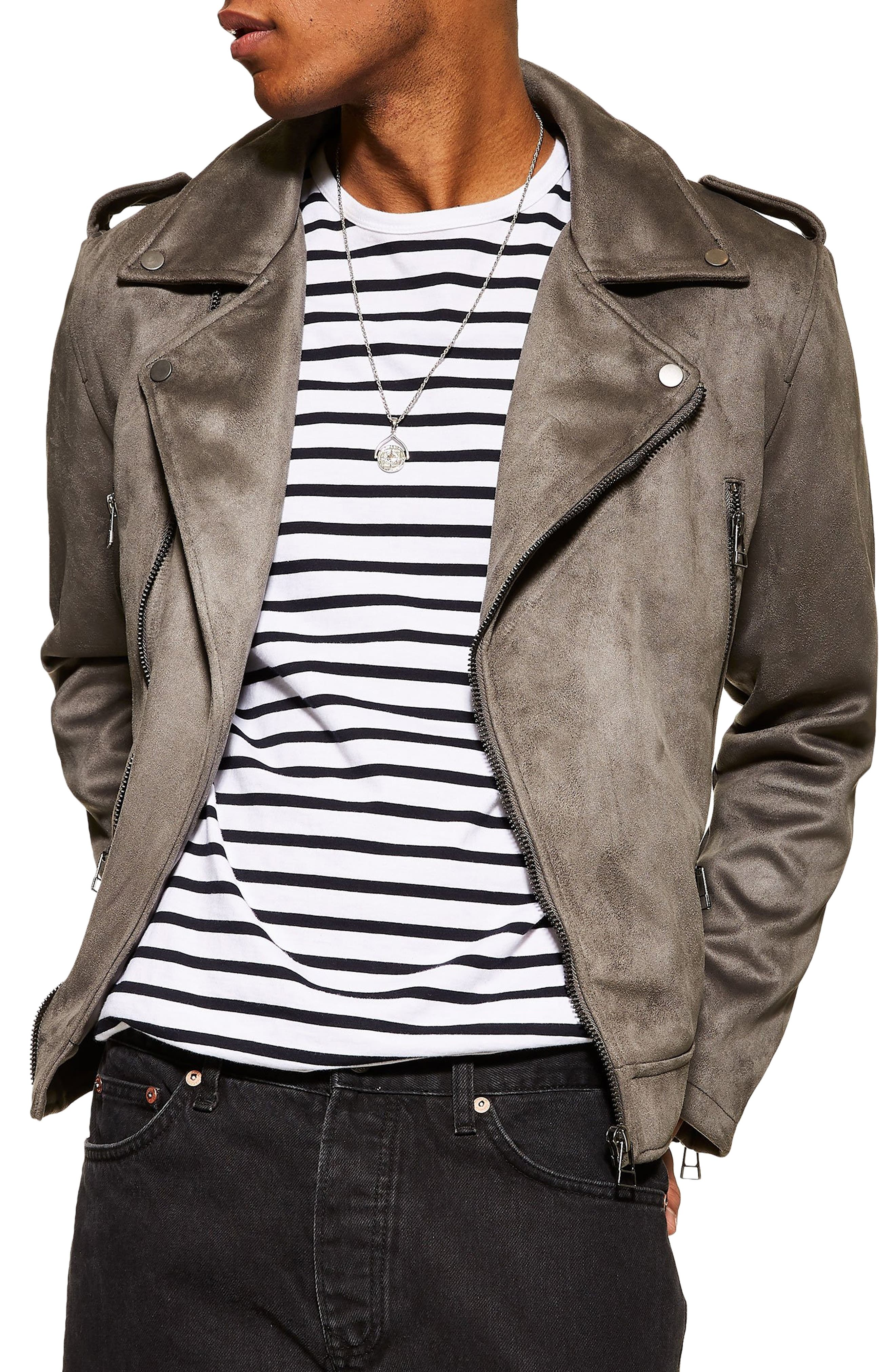 Faux Suede Biker Jacket, Main, color, GREY