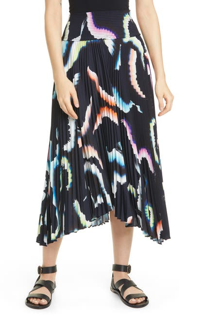 Image of A.L.C. Sonali Asymmetrical Pleated Midi Skirt