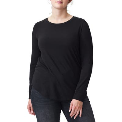 Plus Size Universal Standard T Rex Long Sleeve Tee, Size XL (26W-28W) Petite Plus - Black