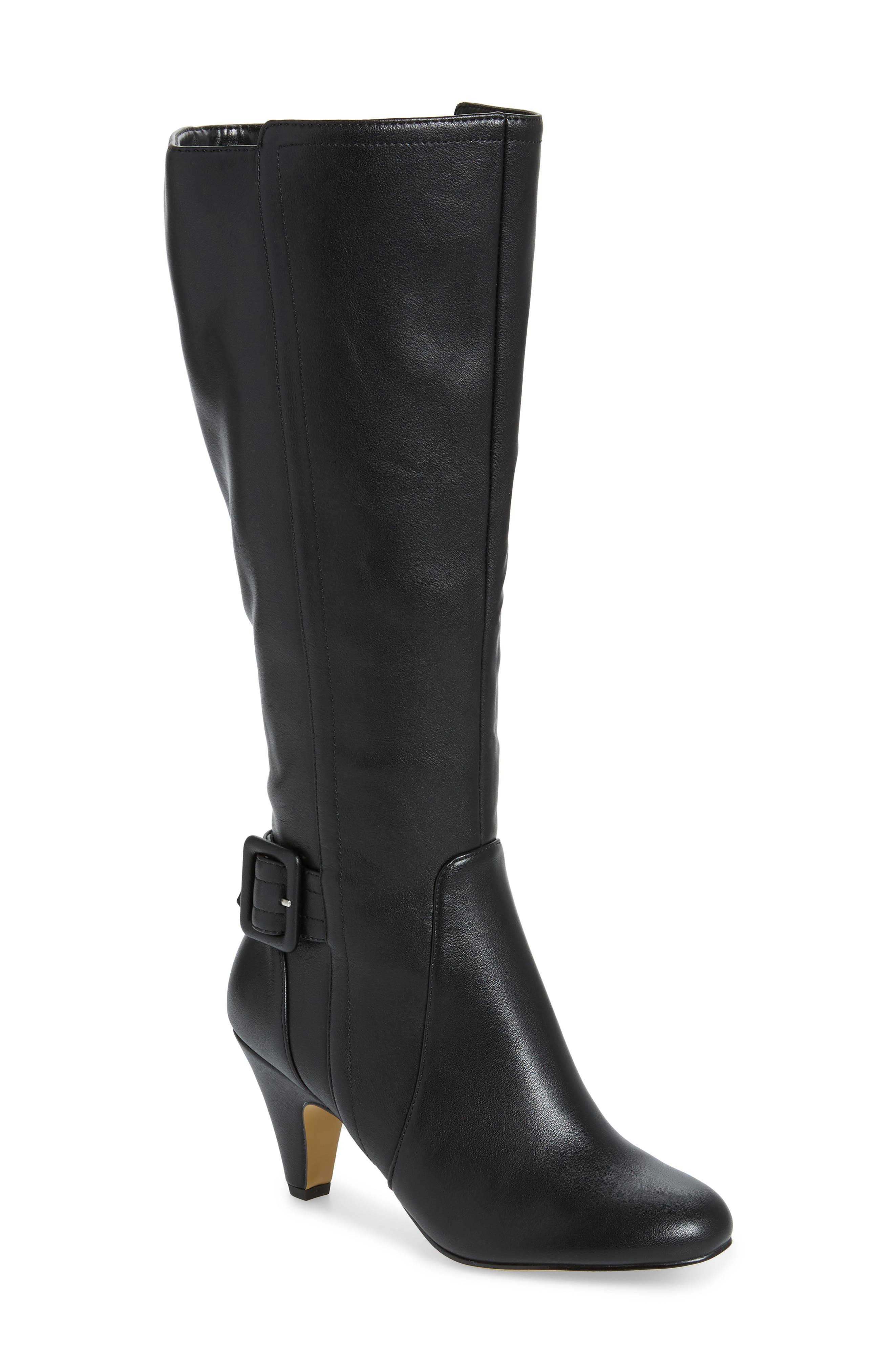 A topstitched strap with a wrapped rectangular buckle details the back of a chic knee-high boot styled with a cone-like heel and almond toe. Style Name: Bella Vita Troy Knee High Buckle Boot (Women). Style Number: 5918934. Available in stores.