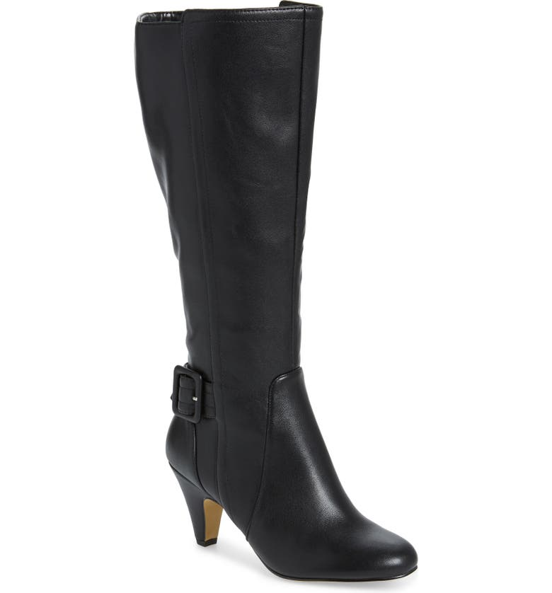 BELLA VITA Troy Knee High Buckle Boot, Main, color, BLACK FAUX LEATHER