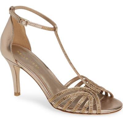 Pelle Moda Rochell Crystal Embellished Sandal- Metallic