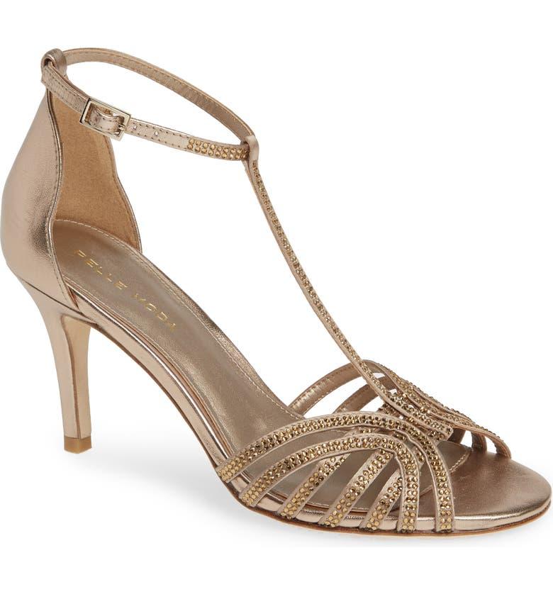 PELLE MODA Rochell Crystal Embellished Sandal, Main, color, PLATINUM/ GOLD METALLIC FABRIC