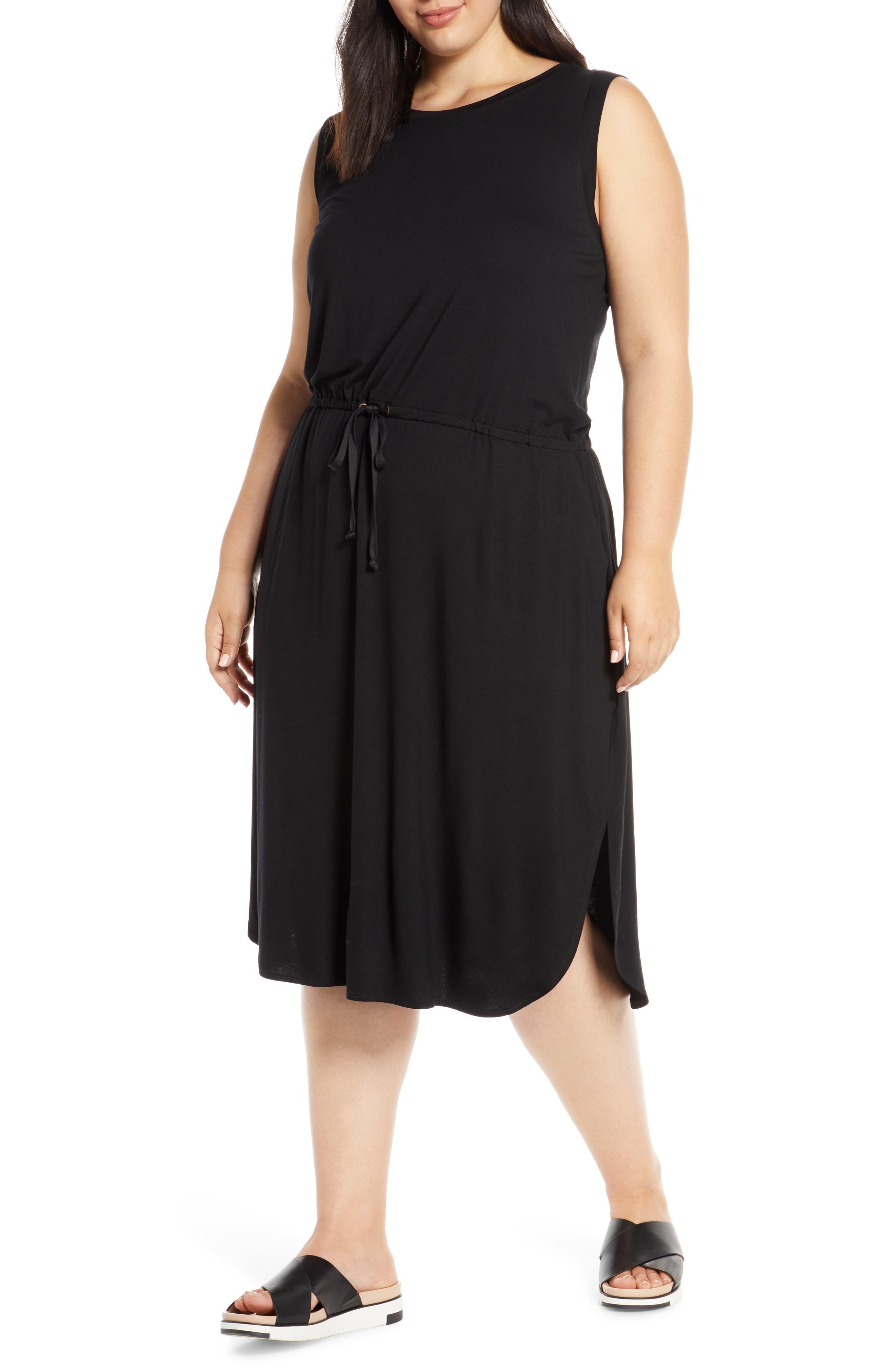 Plus Size Eileen Fisher Drawstring Stretch Tencel Lyocell Midi Dress, Black
