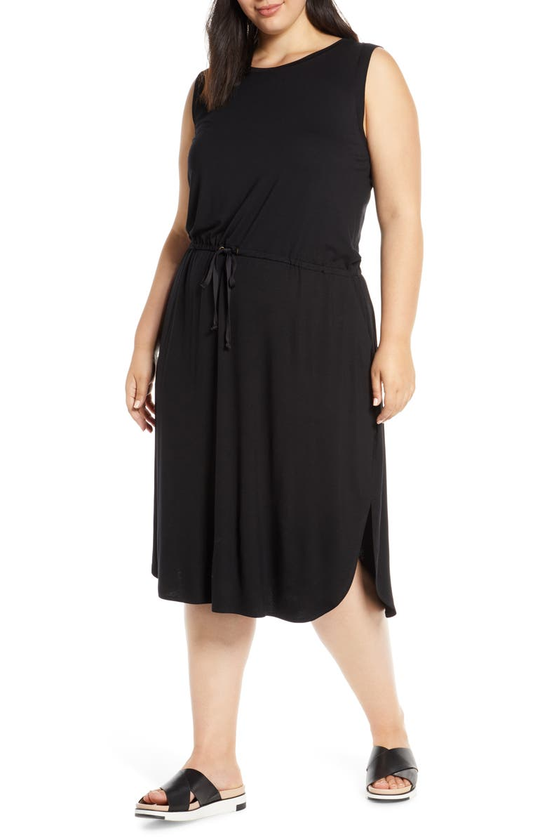 Eileen Fisher Drawstring Stretch Tencel Lyocell Midi Dress Plus Size