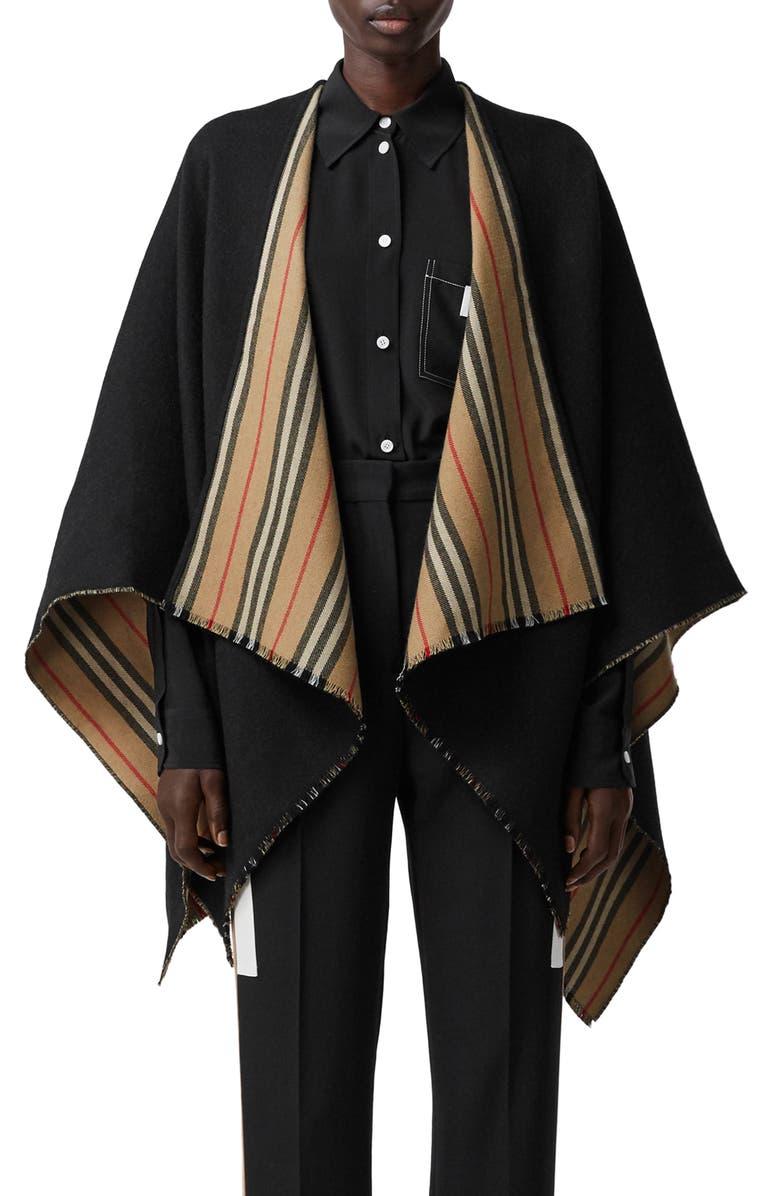 BURBERRY Icon Stripe Reversible Wool Cape, Main, color, BLACK/ ARC BEIGE
