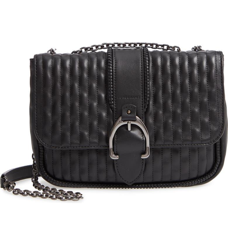 LONGCHAMP Small Leather Crossbody Bag, Main, color, 001