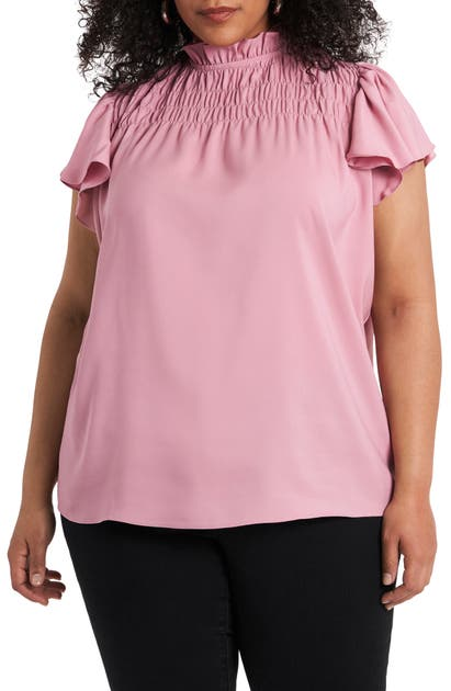 1.state SMOCKED RUFFLE SLEEVE TOP