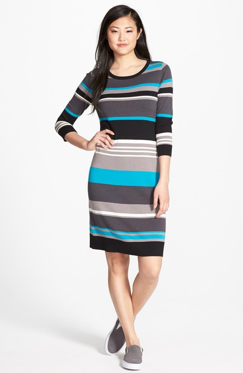 CASLON<SUP>®</SUP> Three-Quarter Sleeve Sweater Dress, Main, color, 001