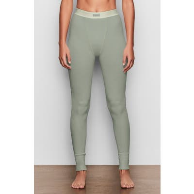 Plus Size Skims Cotton Rib Thermal Leggings, Green