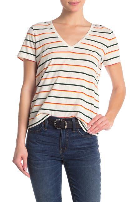 Image of Madewell Rainbow Stripe V-Neck T-Shirt