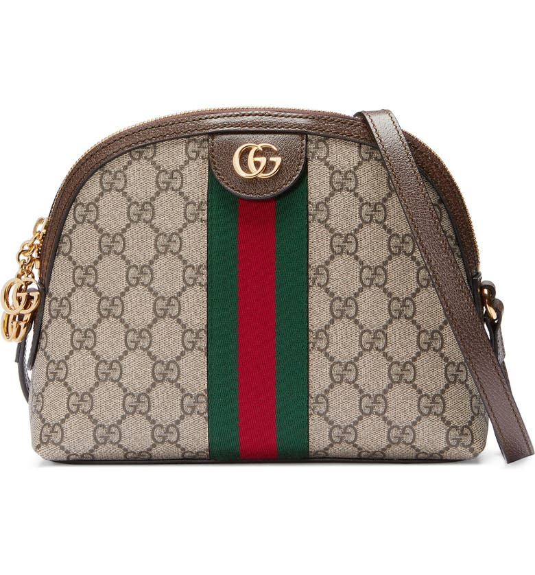 GUCCI GG Supreme Canvas Shoulder Bag, Main, color, BEIGE EBONY/ NERO/ RED