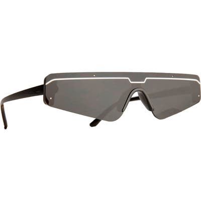 Rad + Refined Cyberfunk Sport Flat Top Shield Sunglasses - Black/ Grey Lens