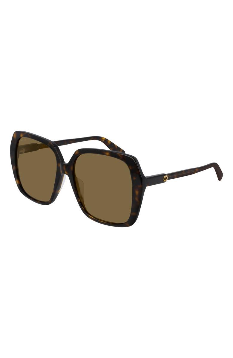 GUCCI 56mm Square Sunglasses, Main, color, SHINY DARK HAVANA/ BROWN SOLID