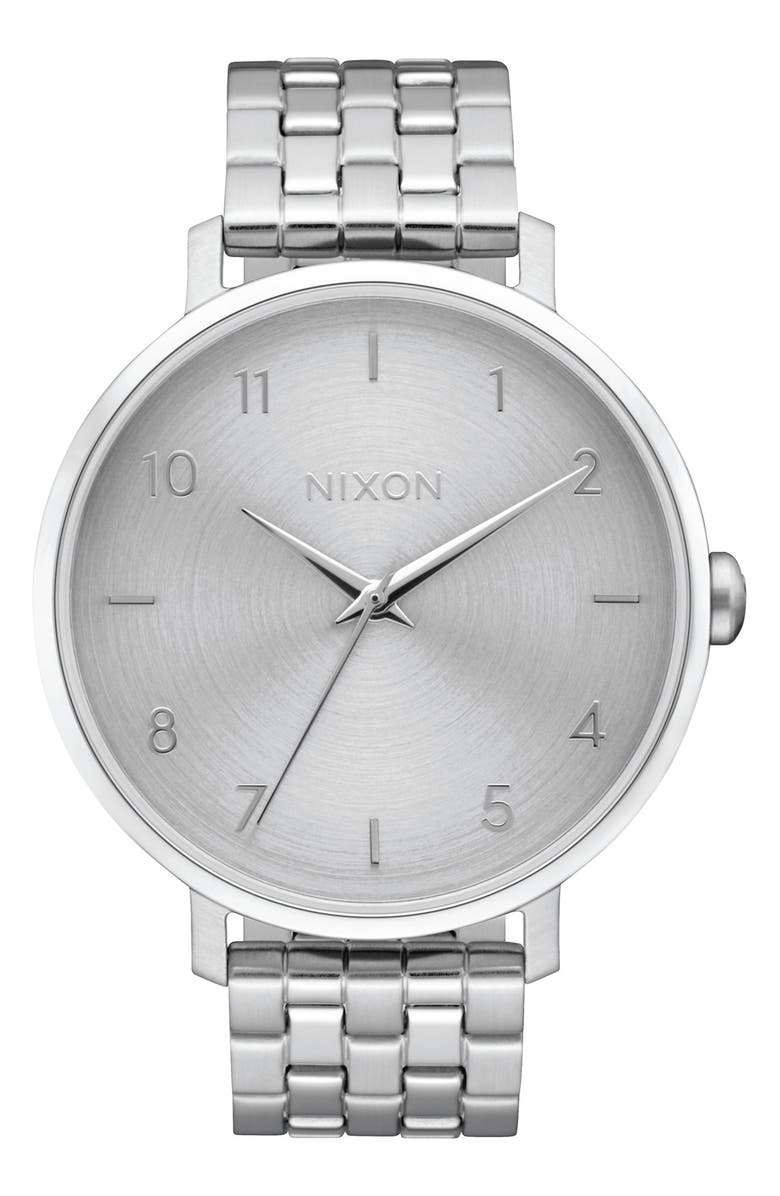 NIXON The Arrow Bracelet Watch, 38mm, Main, color, SILVER