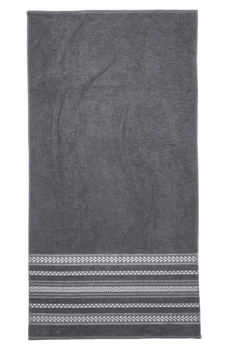 PENDLETON Bohemian Fair Isle Bath Towel, Main, color, CHARCOAL