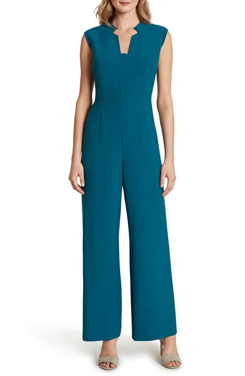 TAHARI Sleeveless Stretch Crepe Jumpsuit, Main, color, OCEAN BLUE