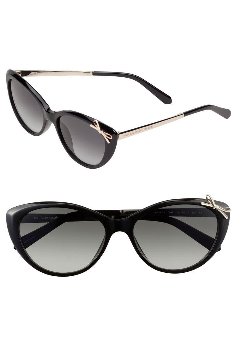 KATE SPADE NEW YORK 'livia 2' 55mm sunglasses, Main, color, 001
