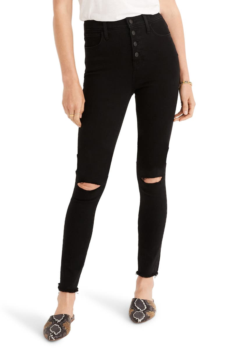 MADEWELL 10-Inch High Waist Roadtripper Button Front Jeggings, Main, color, BLACK RIP