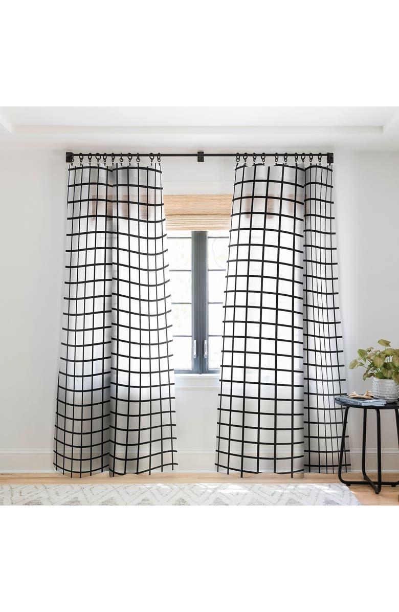 DENY DESIGNS Monochrome Grid Sheer Window Panel, Main, color, 100