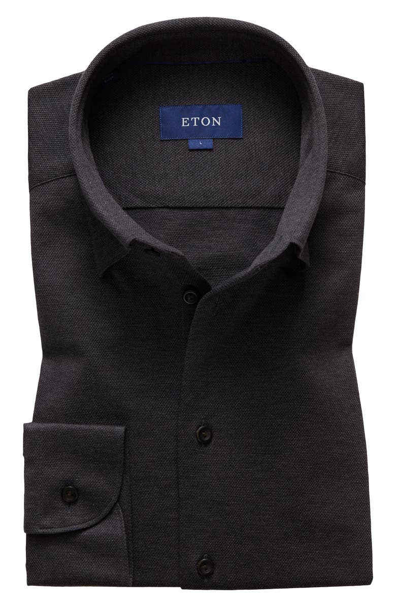 ETON Slim Fit Solid Knit Dress Shirt, Main, color, GREY