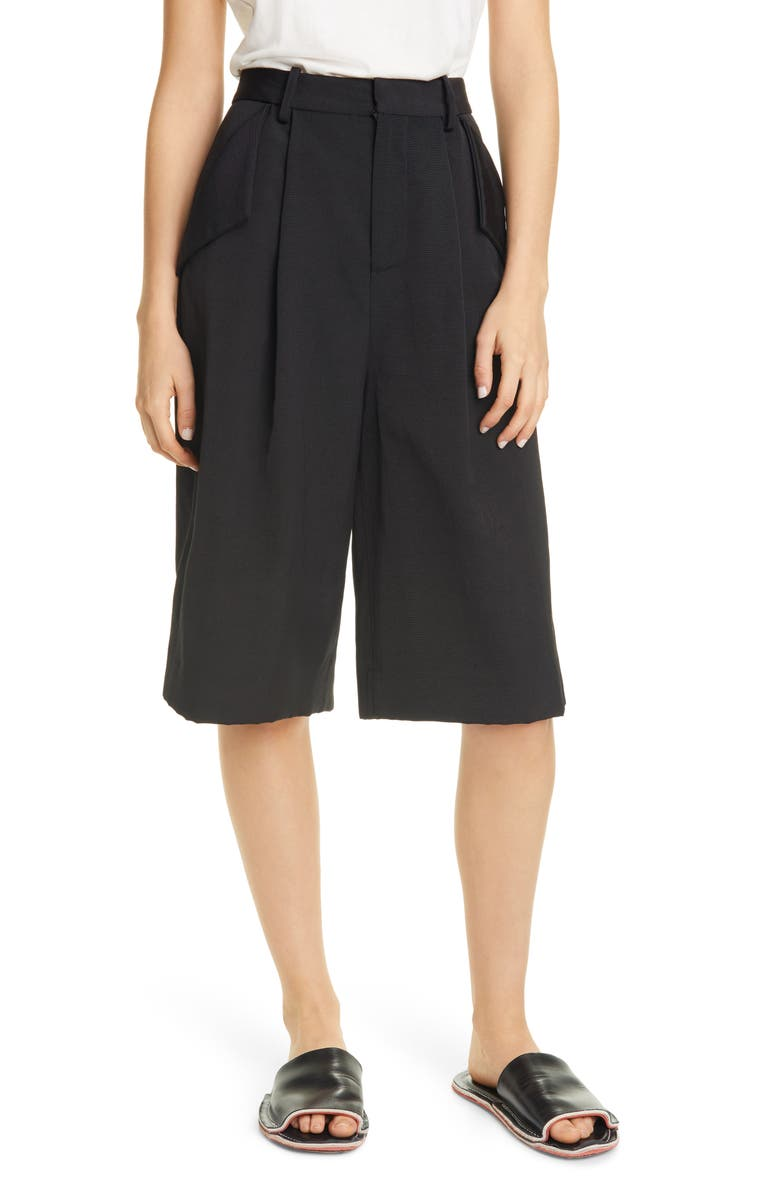 PARTOW Gordon Pleated Bermuda Shorts, Main, color, BLACK