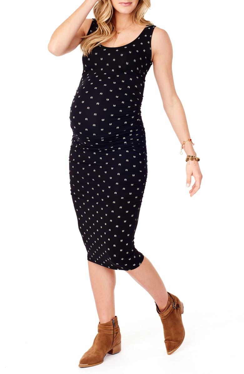 INGRID & ISABEL<SUP>®</SUP> Shirred Midi Maternity Tank Dress, Main, color, JET BLACK/ ARROW PRINT