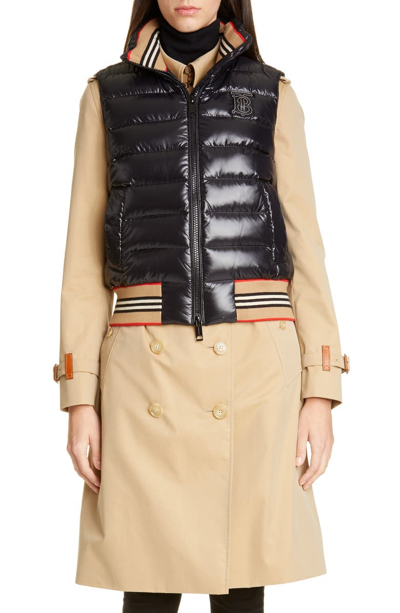 BURBERRY Hessle Down Puffer Vest, Main, color, BLACK